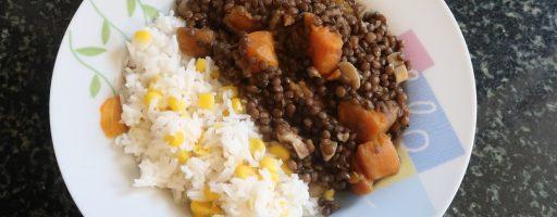 תבשיל עדשים שחורות ובטטה